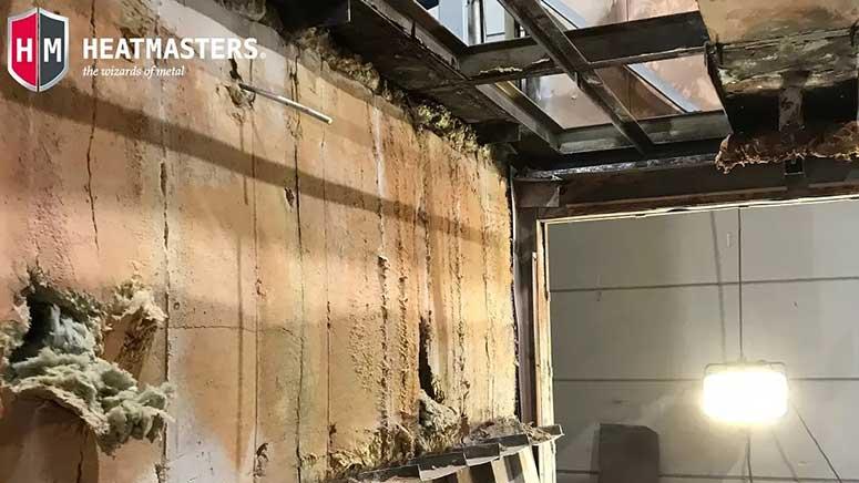 Furnace insulation prior to modernization.